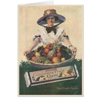 Tarjeta de felicitación con la señora de la fruta