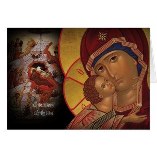 Tarjeta de felicitación cristiana ortodoxa del ico