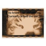 Tarjeta de felicitación curiosa del gatito