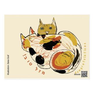 tarjeta de felicitación de 2 gatos tarjeta postal