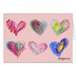 Tarjeta de felicitación de 6 corazones de la tarje