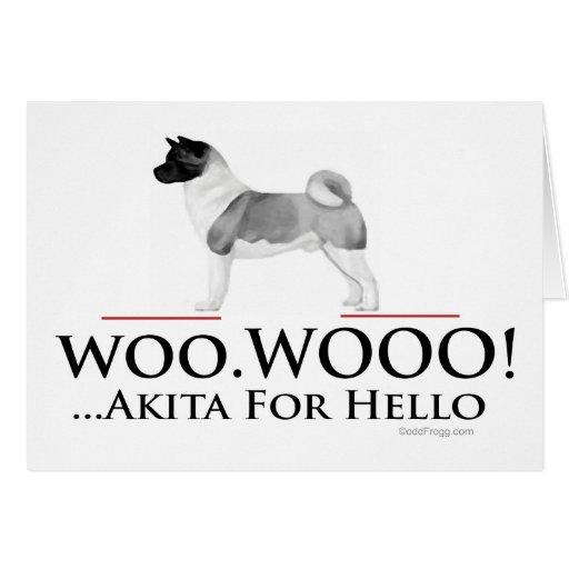 Tarjeta de felicitación de Akita hola
