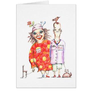Tarjeta de felicitación de Bob y de Claire de Lune
