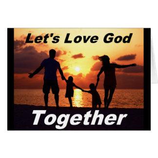 Tarjeta de felicitación de dios del amor junto