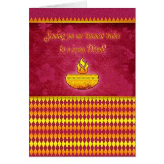 Tarjeta de felicitación de Diwali con la lámpara
