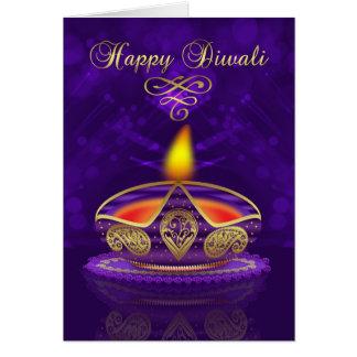 Tarjeta de felicitación de Diwali en oro y púrpura