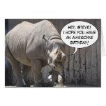 Tarjeta de felicitación de encargo del rinoceronte
