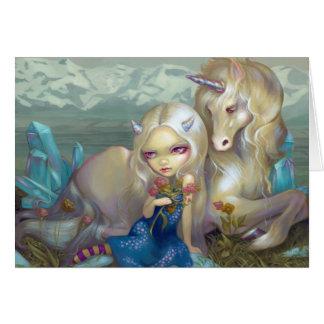 """Tarjeta de felicitación de """"Fiona y del unicornio"""""""