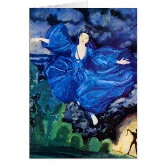 Tarjeta de felicitación de hadas azul
