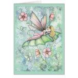 Tarjeta de felicitación de hadas de la flor capric