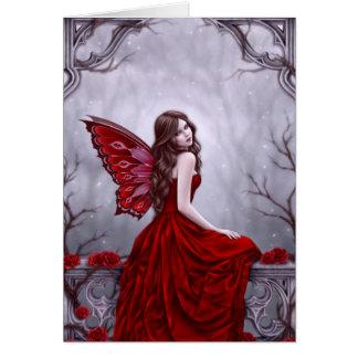 Tarjeta de felicitación de hadas del arte del rosa