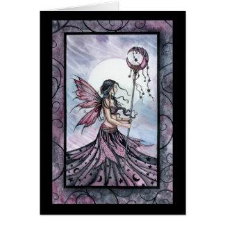 Tarjeta de felicitación de hadas ideal púrpura