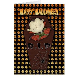 tarjeta de felicitación de Halloween con el pequeñ