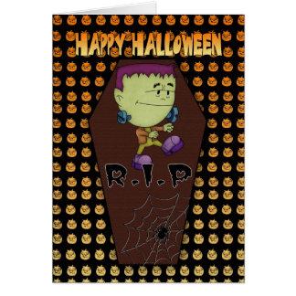 tarjeta de felicitación de Halloween con poco fran