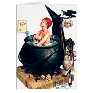 Tarjeta de felicitación de Halloween de la bruja d