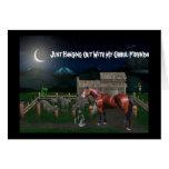 Tarjeta de felicitación de Halloween del caballo
