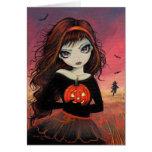 Tarjeta de felicitación de Halloween del fuego del