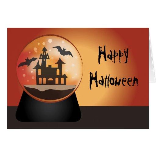Tarjeta de felicitación de Halloween del globo de