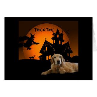 Tarjeta de felicitación de Halloween del golden re