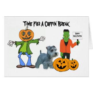 Tarjeta de felicitación de Halloween del Schnauzer