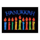 Tarjeta de felicitación de Jánuca con las velas