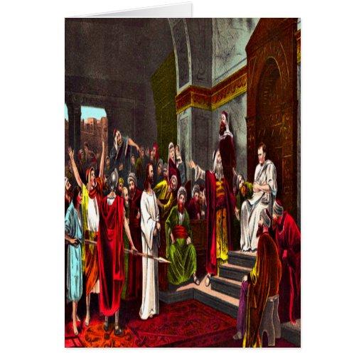 Tarjeta de felicitación de Jesús y de Pilate