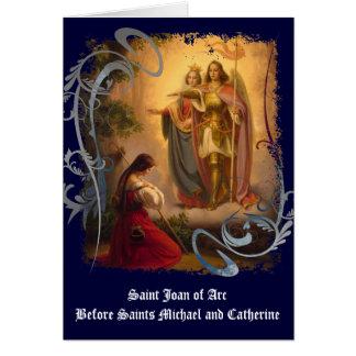 Tarjeta de felicitación de Juana de Arco del santo
