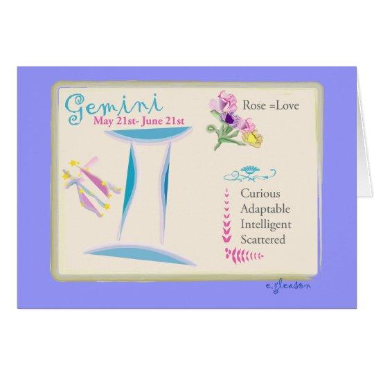 Tarjeta de felicitación de junio de los géminis