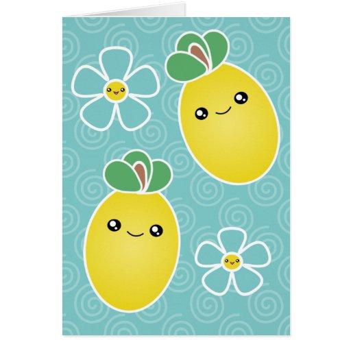 Tarjeta de felicitación de Kawaii del flor del lim