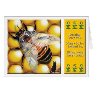 Tarjeta de felicitación de la abeja de la miel