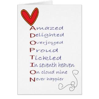 Tarjeta de felicitación de la adopción