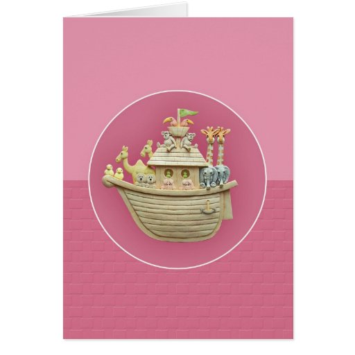 Tarjeta de felicitación de la arca de Noah rosado