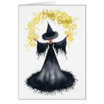 Tarjeta de felicitación de la bruja de Samhain