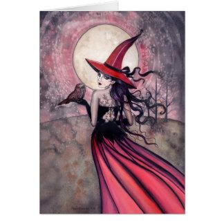 Tarjeta de felicitación de la bruja y del búho