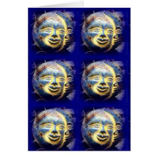 tarjeta de felicitación de la cara de luna de la
