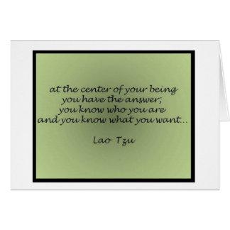 Tarjeta de felicitación de la cita de Tzu del Lao