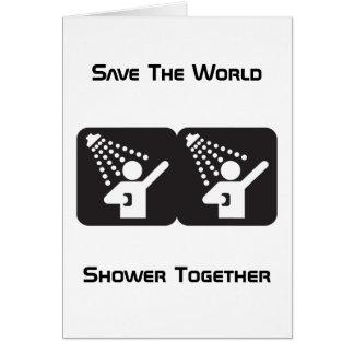 Tarjeta de felicitación de la ducha junto