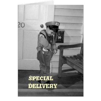 Tarjeta de felicitación de la entrega especial