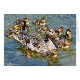 Tarjeta de felicitación de la familia del pato