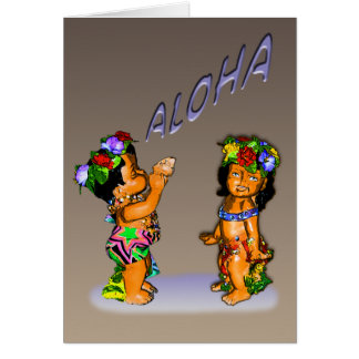 tarjeta de felicitación de la hawaiana del keiki