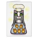 Tarjeta de felicitación de la hornada del gato del