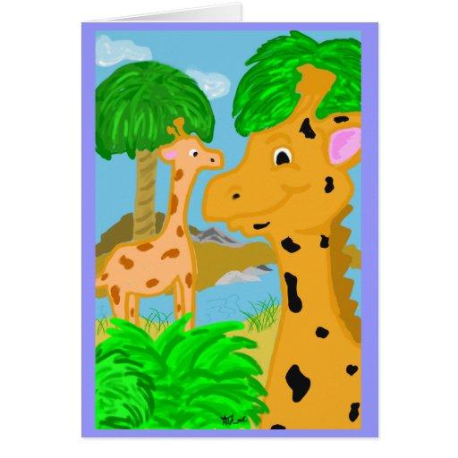 Tarjeta de felicitación de la jirafa de la selva