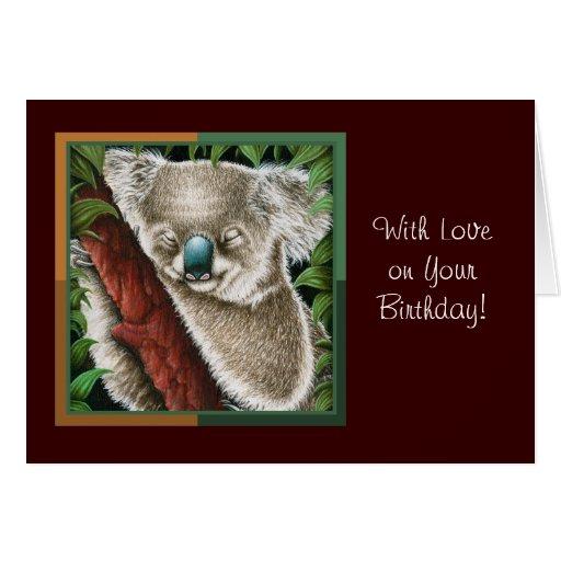 Tarjeta de felicitación de la koala el dormir