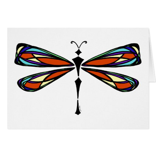 Tarjeta de felicitación de la libélula del vitral