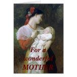 Tarjeta de felicitación de la madre y del bebé del