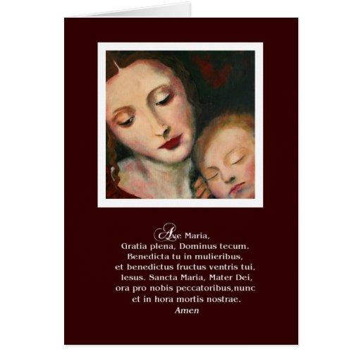 Tarjeta de felicitación de la madre y del niño