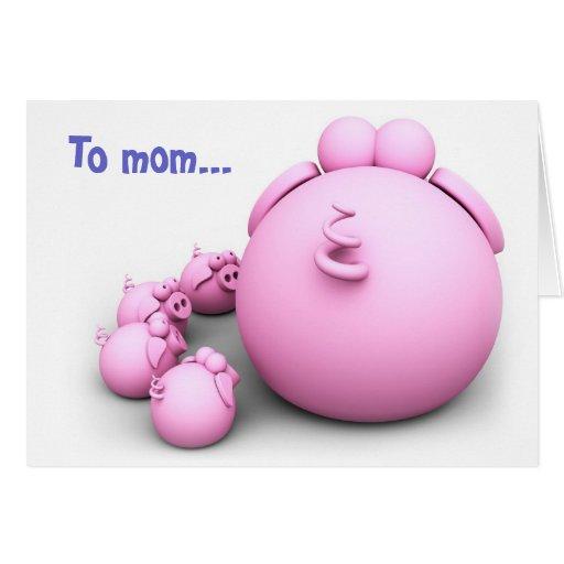 Tarjeta de felicitación de la mamá del cerdo