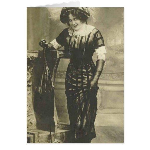 tarjeta de felicitación de la mujer de lujo 1900's