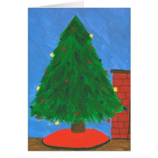 Tarjeta de felicitación de la pintura del árbol de