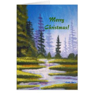 Tarjeta de felicitación de la pintura del bosque d